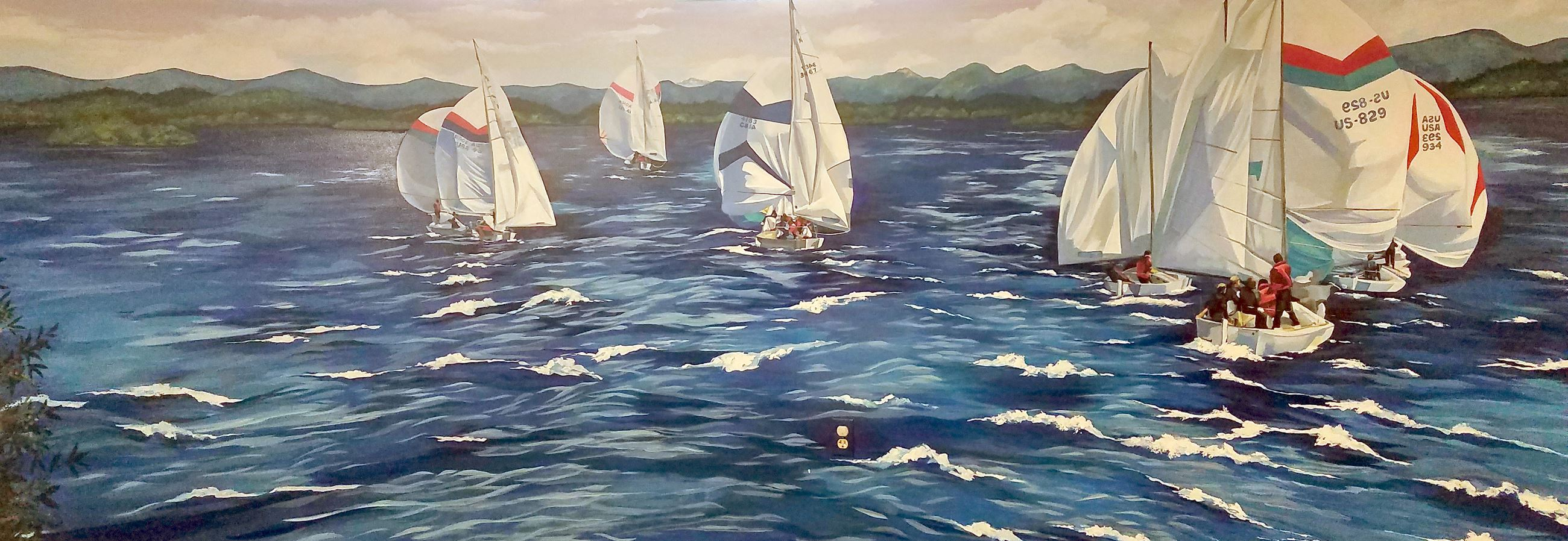 childrens room mural of sailboats
