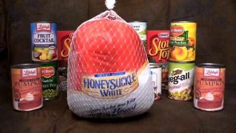 frozen thanksgiving turkey and canned foods