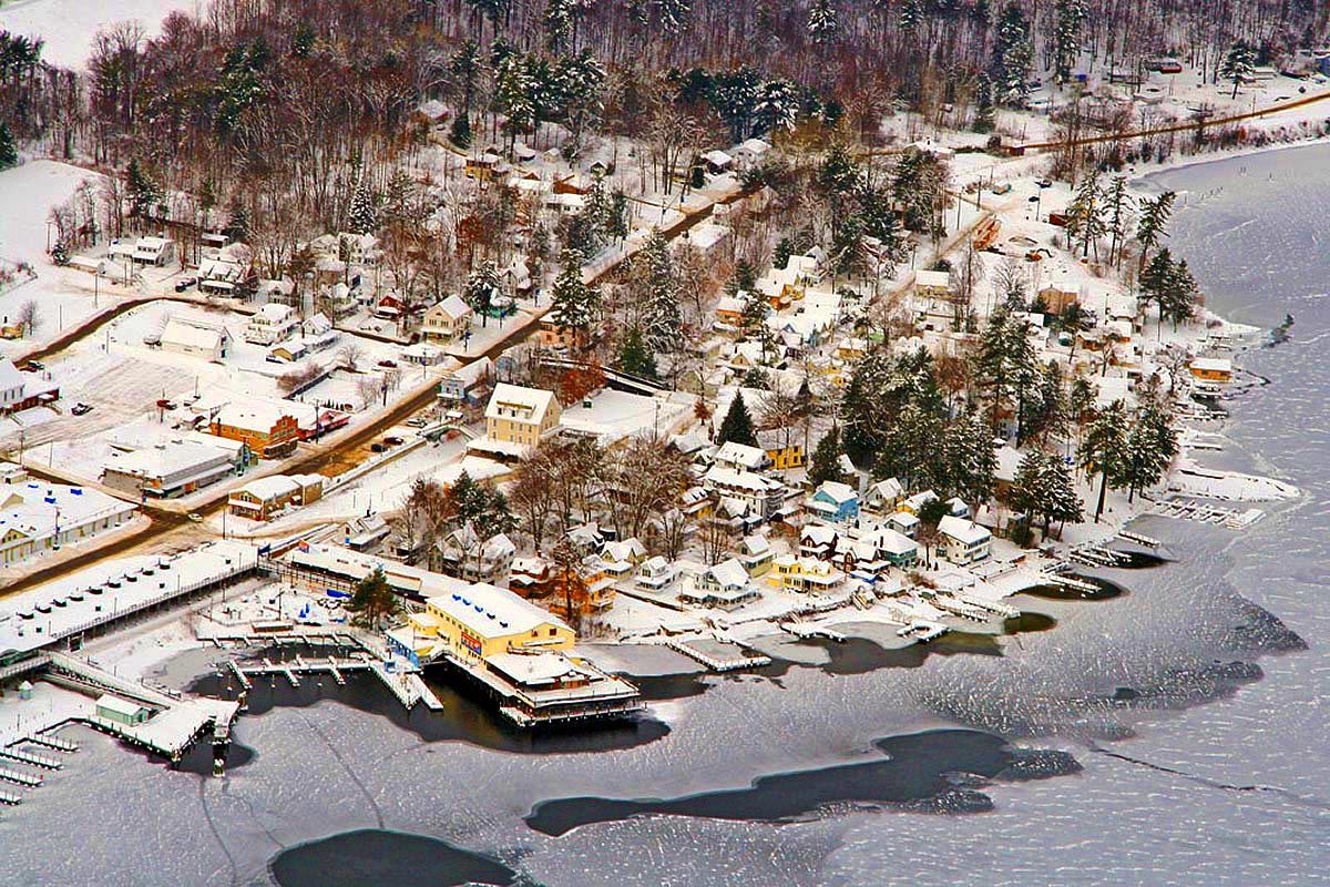 Aerial view of Weirs Beach in winter - Photo compliments of AerialNH Photographs