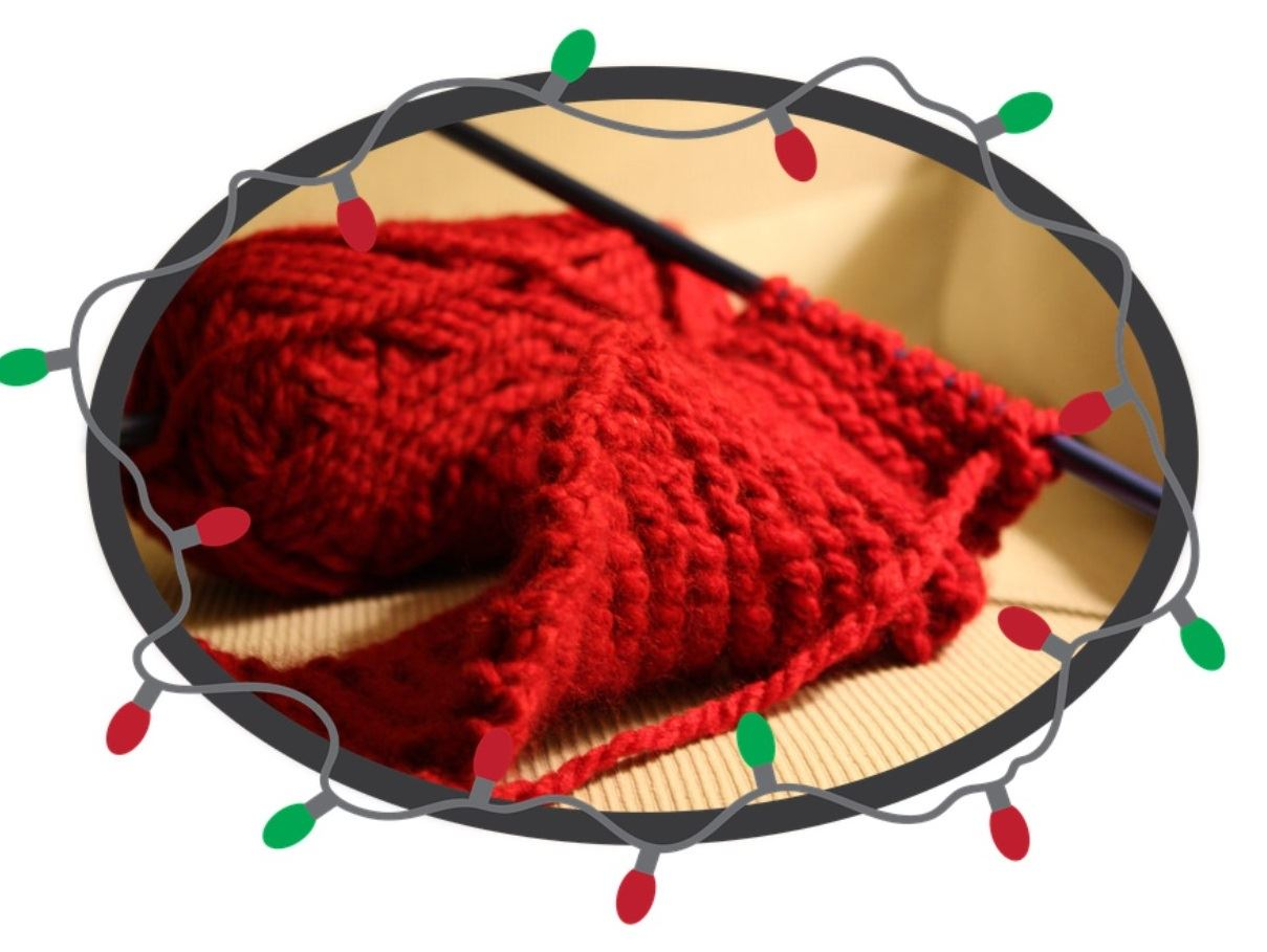 red holiday lights knitting