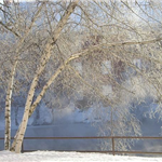 A View of the River Behind City Hall After Snow Fall in February