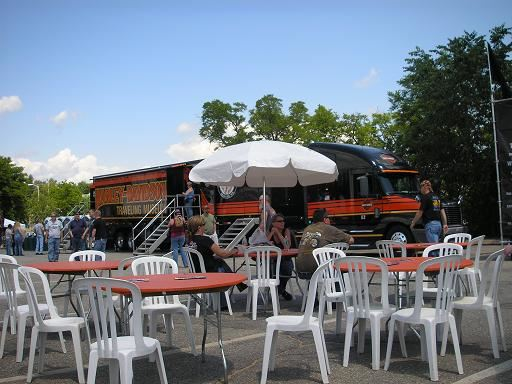 The stage and dining at Harley Davidson 2009
