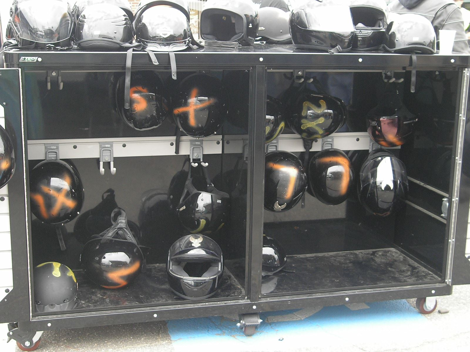 A display of helmets at Harleys set up 2010