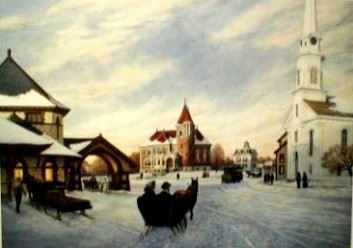 Peter Ferber's painting of Gale Library at Evenfall in the snow with a horse carriage in front