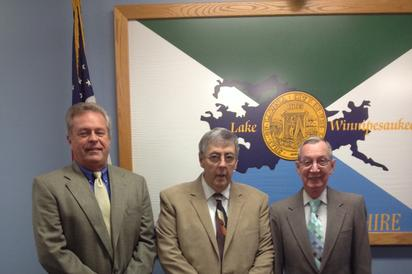 From left Thomas Tarr, Douglas Whittum, Chairman, Armand Maheux, Clerk