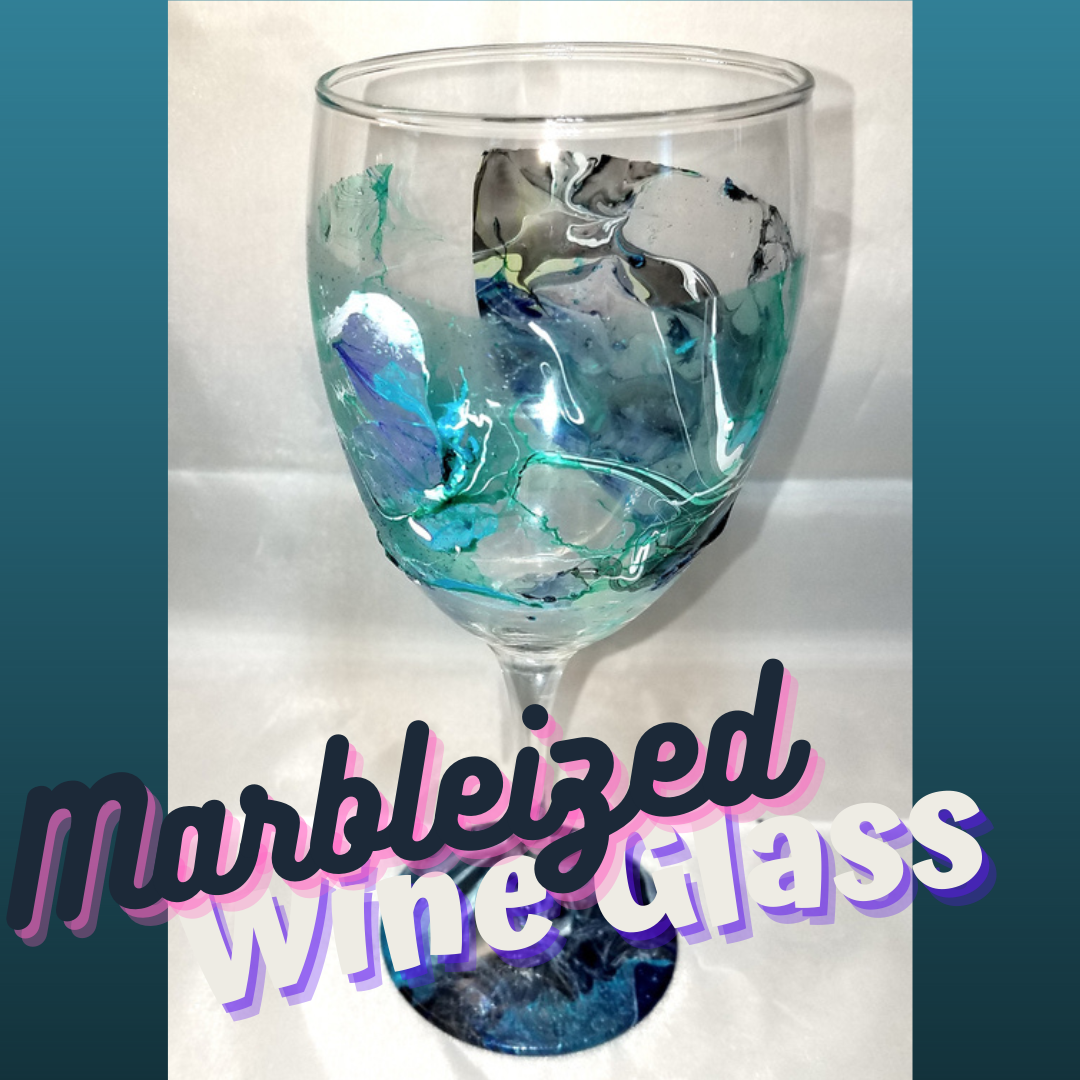 Marbleized Wine Glass